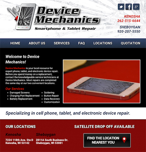 Device Mechanics Website Designed